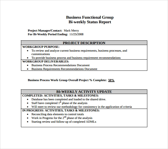 Sample Weekly Status Report 7 Documents In PDF Word – Status Update Template