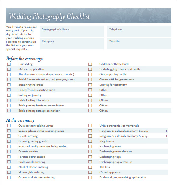 wedding photography checklist template1