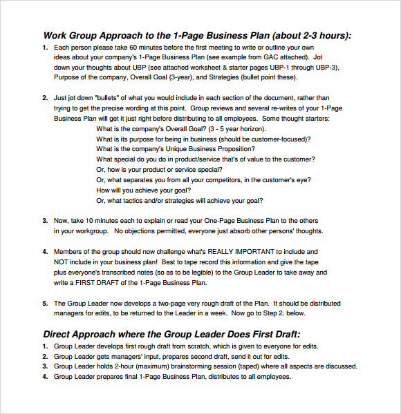One Page Business Plan Template. One-Page Business Plan Sample - 8