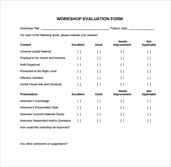 Sample Workshop Evaluation Form - 10+ Documents In Pdf, Word