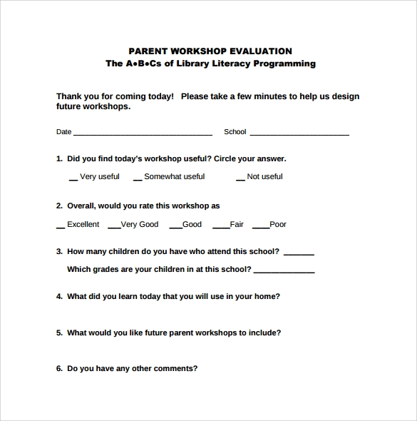 parent workshop evaluation form