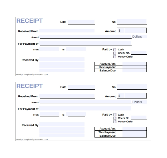 receipt template for free