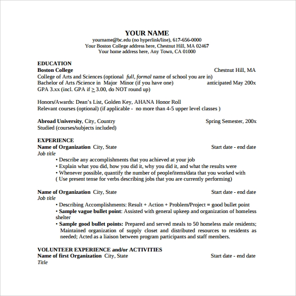 sample college resume template to print good