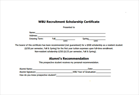 recruitment scholarship certificate