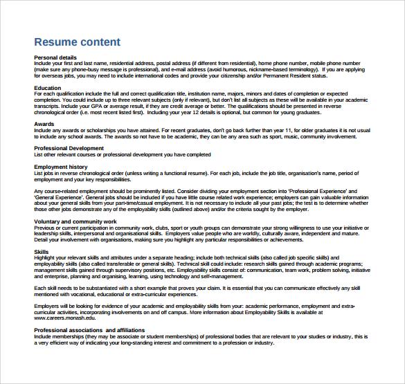 creative writing resume