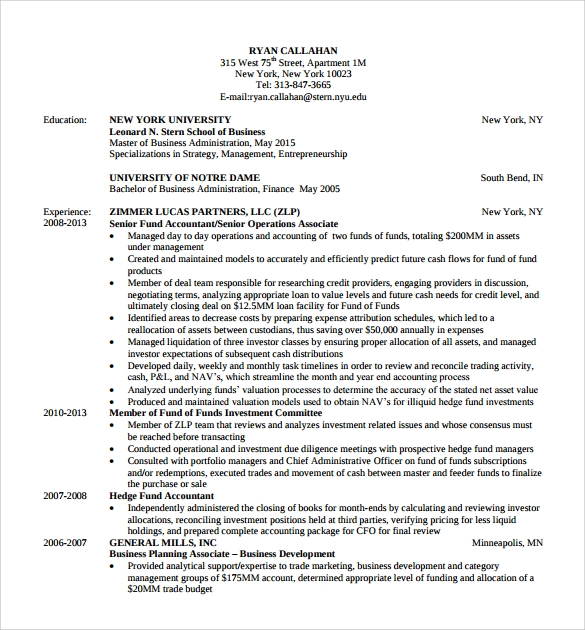 Basic MBA Resume Template  Mba Resume Template