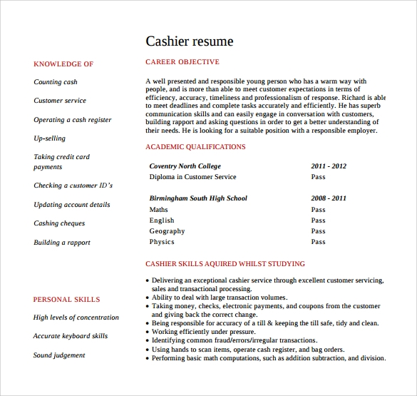 free 9  cashier resume templates in free samples  examples