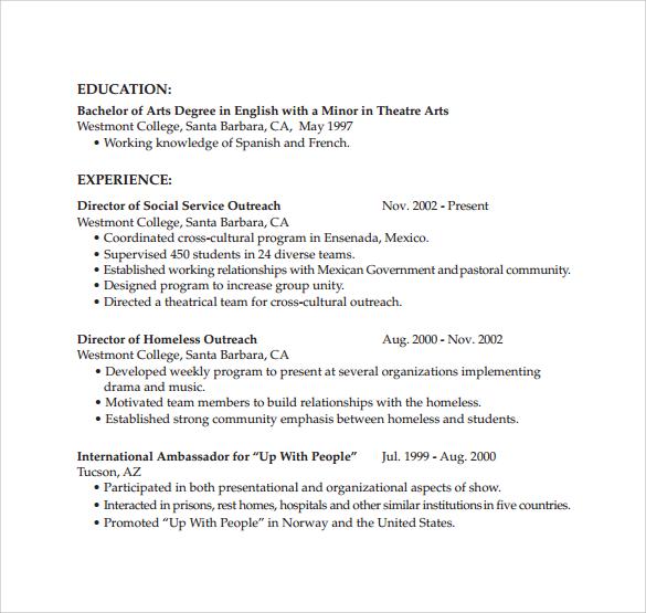 sample chronological resume