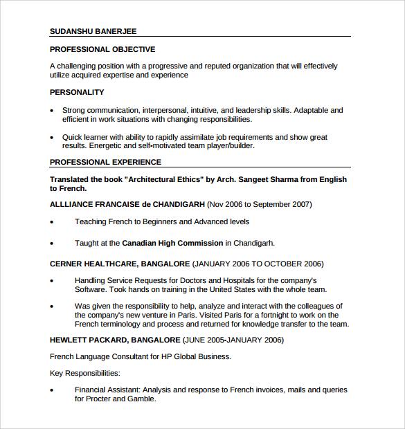 professional resume 9 free sles exles format