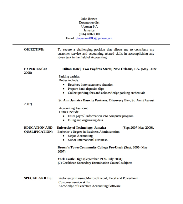 Professional Resume 9 Free Samples Examples Format