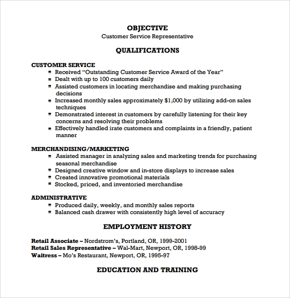Customer Service Resume - 7+ Free Samples , Examples , Format