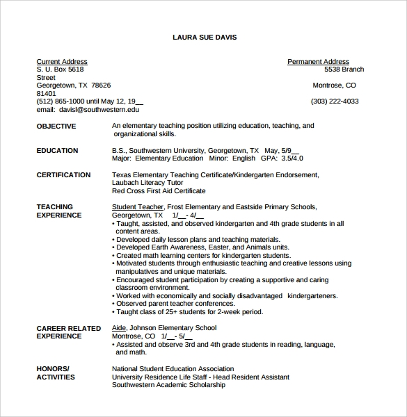 Teacher Resume   Samples Examples Format