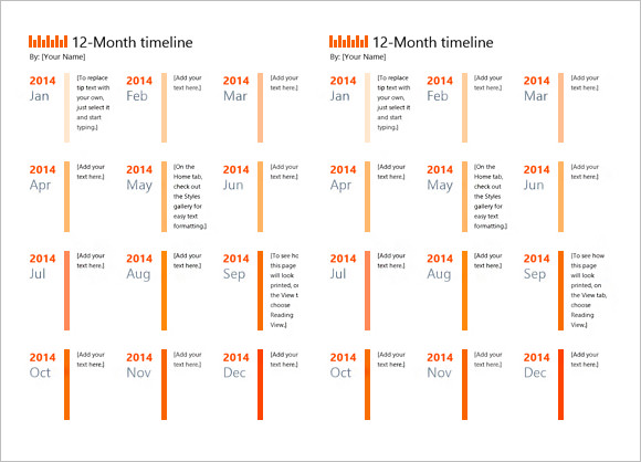 Calendar Timeline Templates  Free Samples  Examples  Format