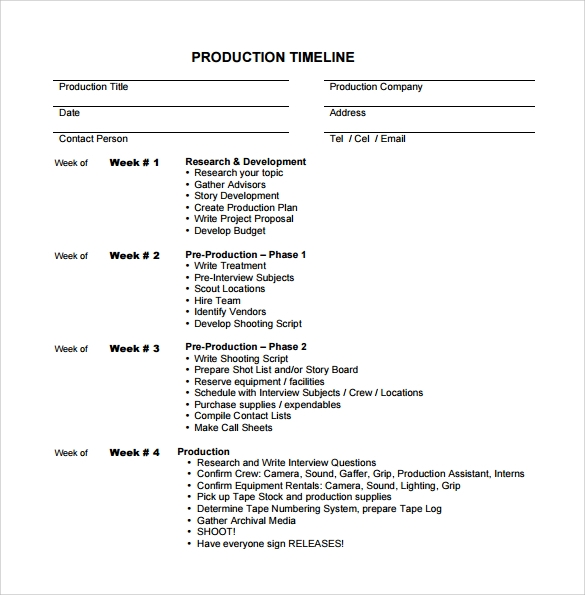 Production Timeline Template Create A Production Schedule  Pre