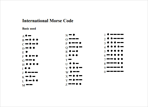 Awesome Sample PDF Morse Code Chart
