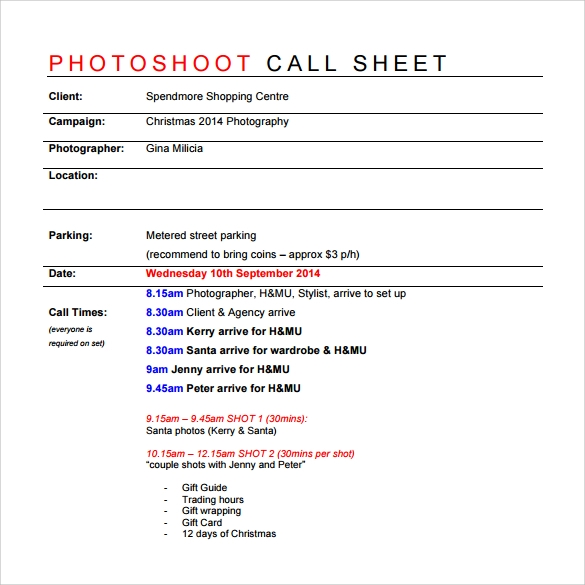 photoshoot call sheet template