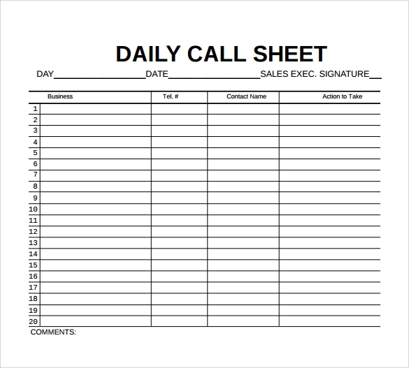 daily call sheet template