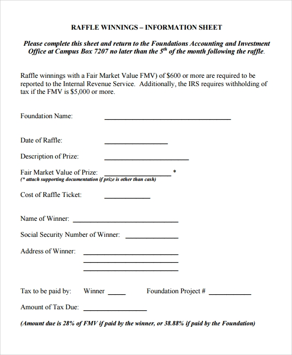 Sample Raffle Sheet   Examples Format