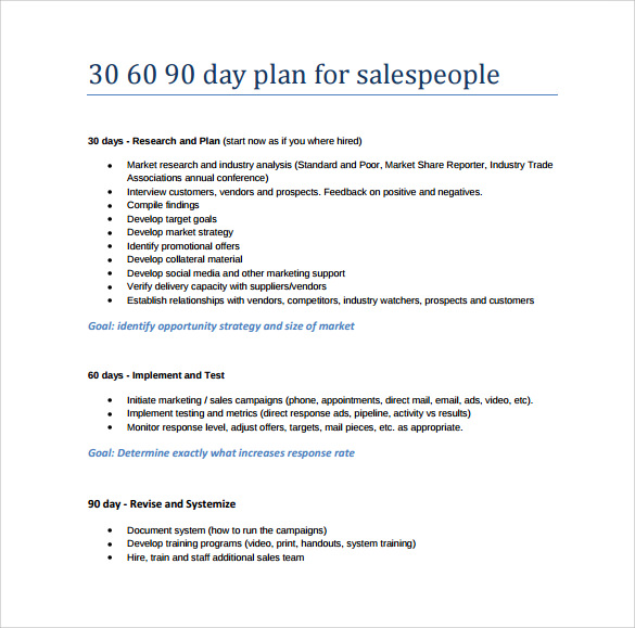 Sample 30 60 90 Day Plan - 10+ Example, Format