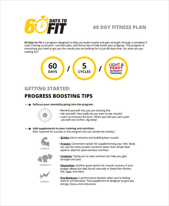 60 day fitness plan template free downloads