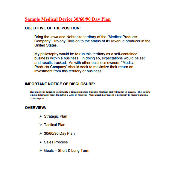medical device 30 60 90 day plan pdf template free download