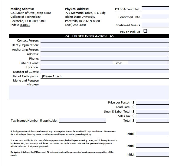 Catering Invoice Template 10 Free Samples Examples Format