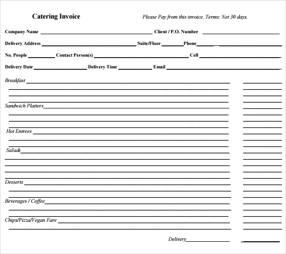 Catering Invoice Template - 10+ Free Samples, Examples, Format
