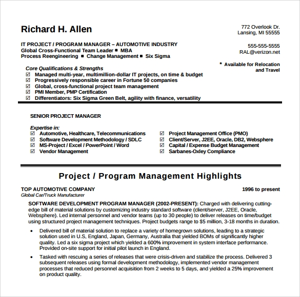 project manager resume 9 samples examples format