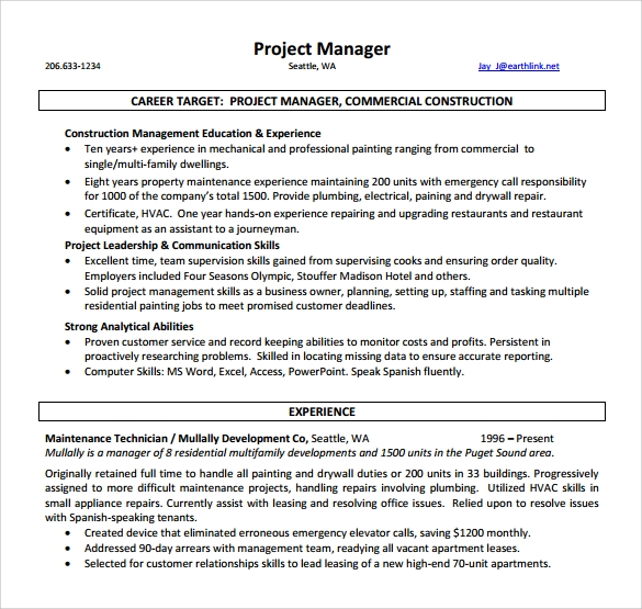 Project Manager Resume – 9+ Samples , Examples , Format