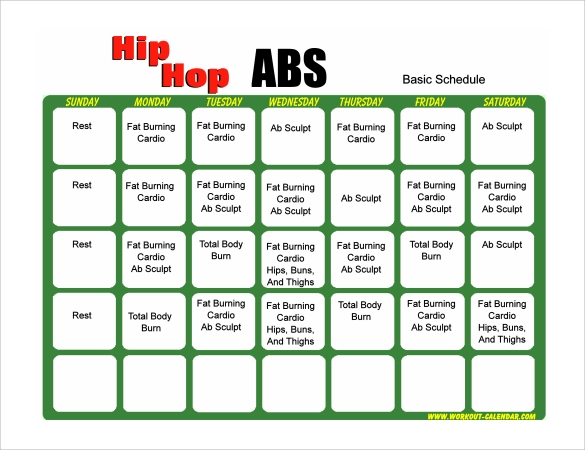 workout calendar pdf example