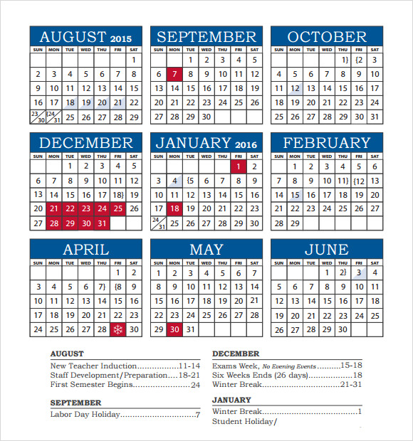 Sample Academic Calendar Academic Calendar Templates – Sample Academic Calendar