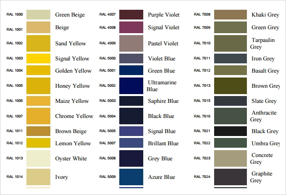 ral color chart template