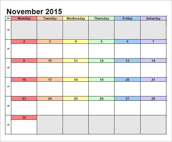 calendar november 2015 landscape pdf