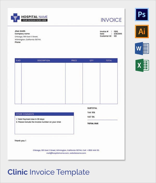 38 Invoice Templates Free Sample Example Format – Hospital Invoice Template