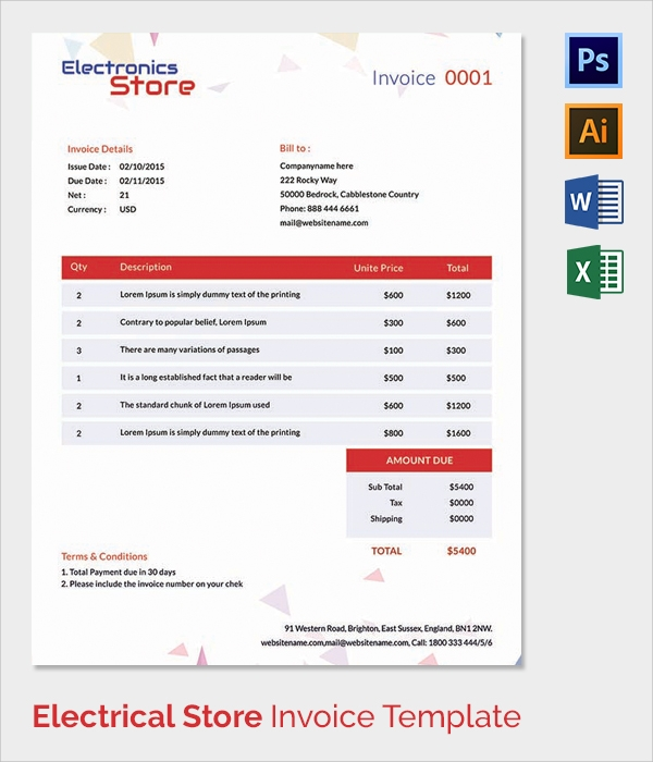 38 Invoice Templates Free Sample Example Format – Electrical Invoice Template