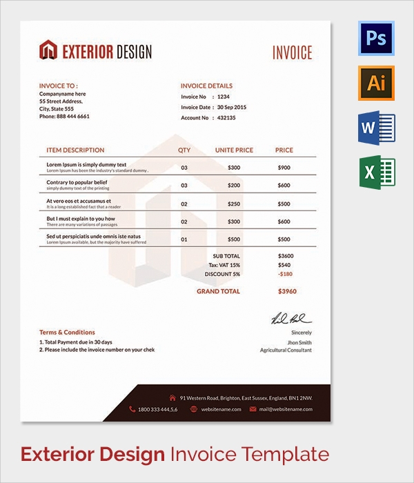 38 invoice templates free sample example format for Exterior design templates