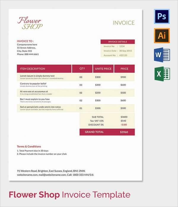 38 invoice templates free sample example format With flower shop invoice template