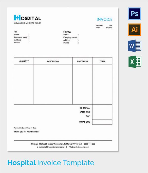 hospital invoice template, Simple invoice