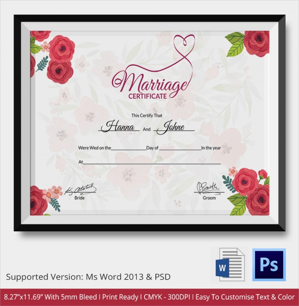FREE 18+ Marriage Certificate Templates In WORD | PSD