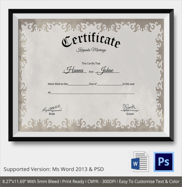 Sample marriage certificate template 18 documents in word psd keepsake marriage certificate template yadclub