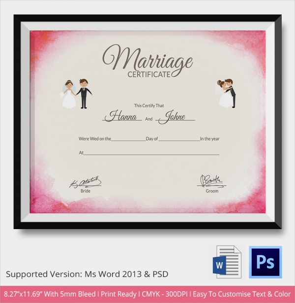 Law Papers To Sign Copy For Wedding: Sample Marriage Certificate Template