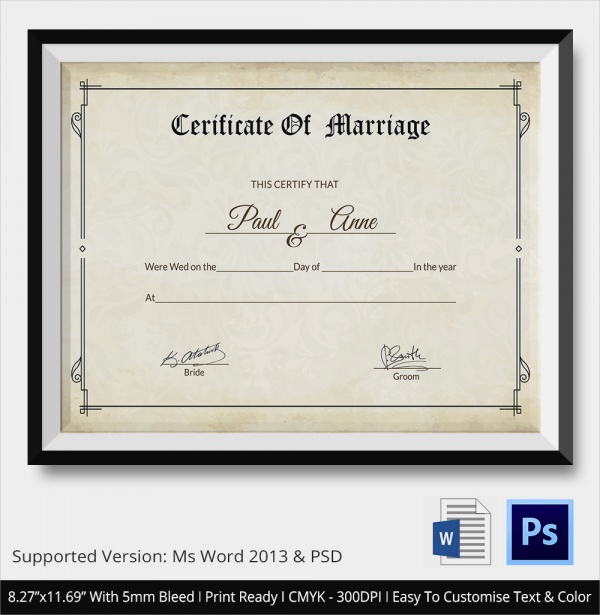 Sample Marriage Certificate Template   Documents In Word Psd