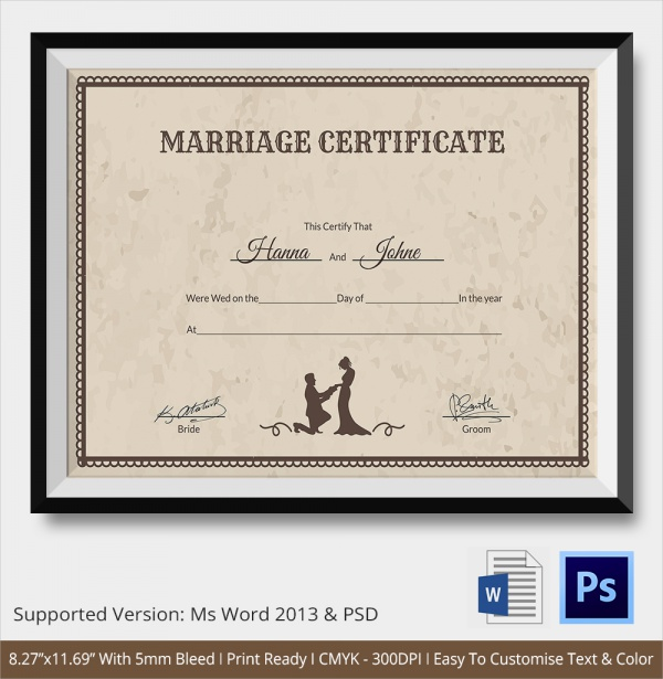 certified marriage certificate template