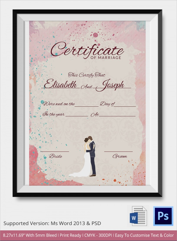 free 18  marriage certificate templates in word