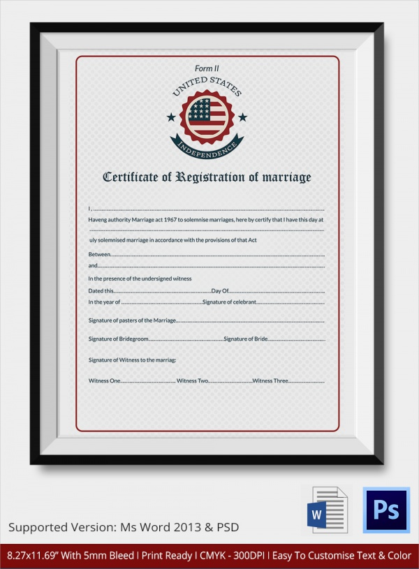marriage registration certificate template