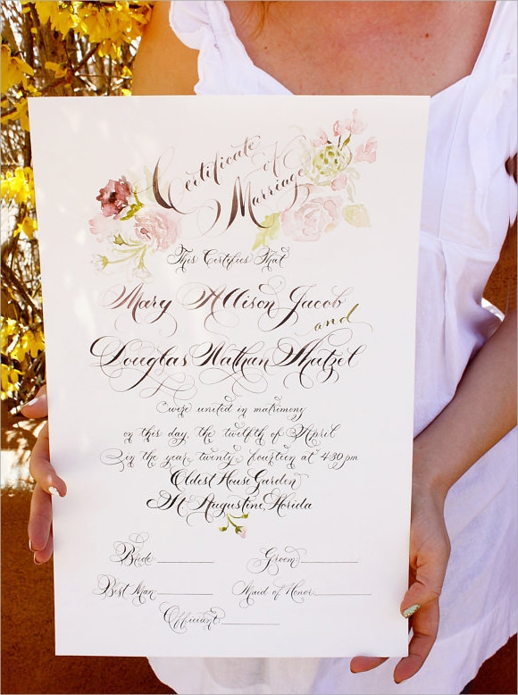 printable marriage certificate template1
