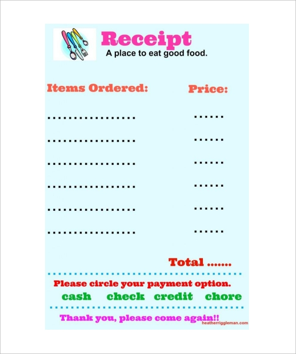 9 restaurant receipt templates  u2013 free samples  examples