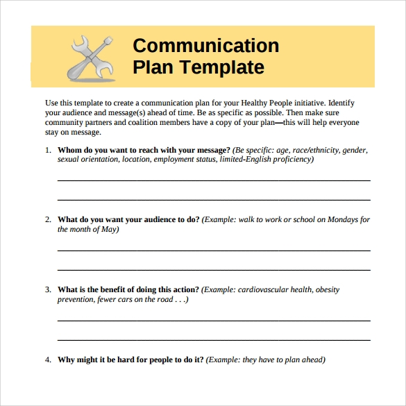 Sample Communication Plan   Documents In Pdf Word