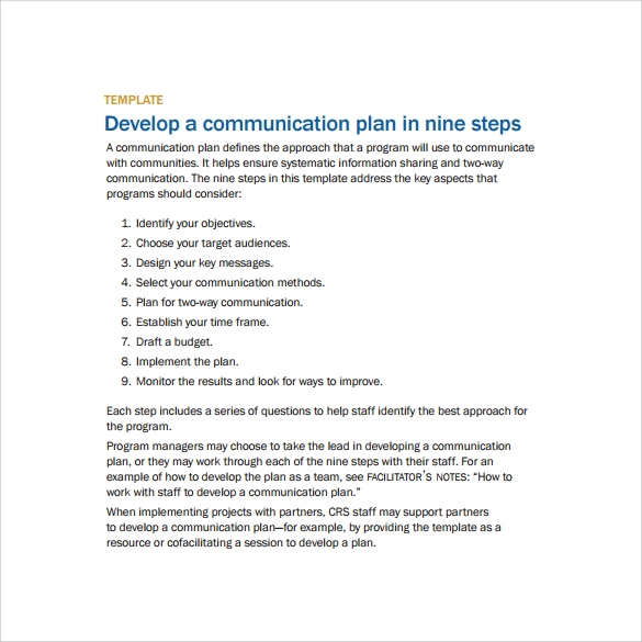 developing communication plan