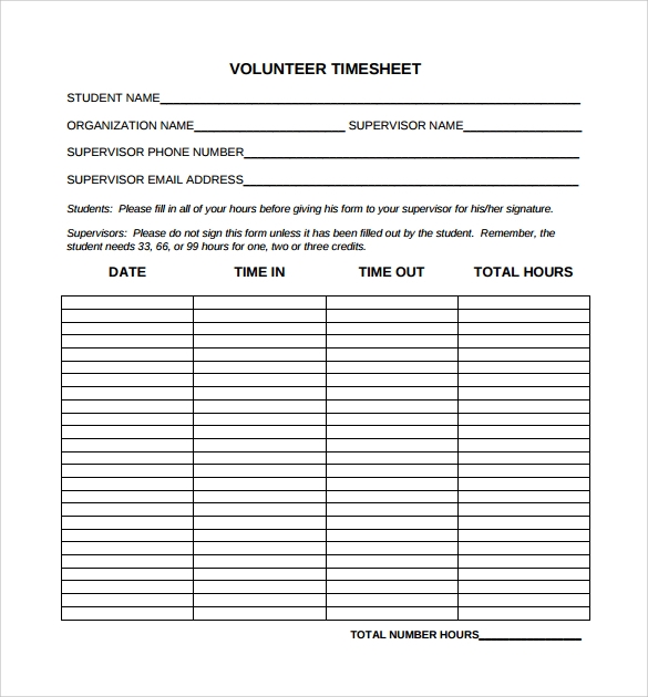 24 sample time sheets sample templates for Volunteer questionnaire template